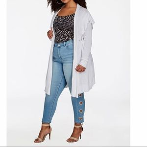 Ashley Stewart white cardigan size 26 NWT
